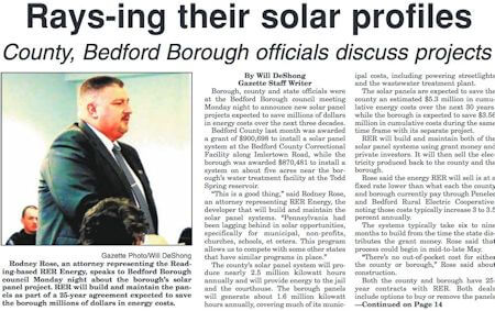 Bedford Borough's New Array Will Cost the Taxpayers Nothing and Save an Estimated $5.3 Million in Cumulative Energy Costs